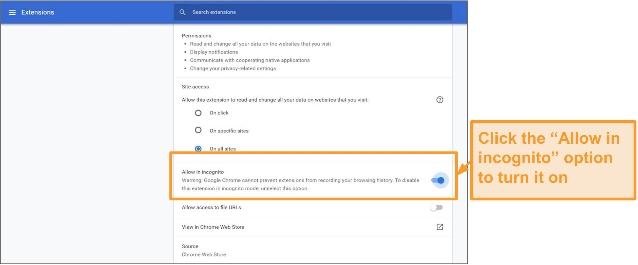 Screenshot of Google Chrome browser extension settings.