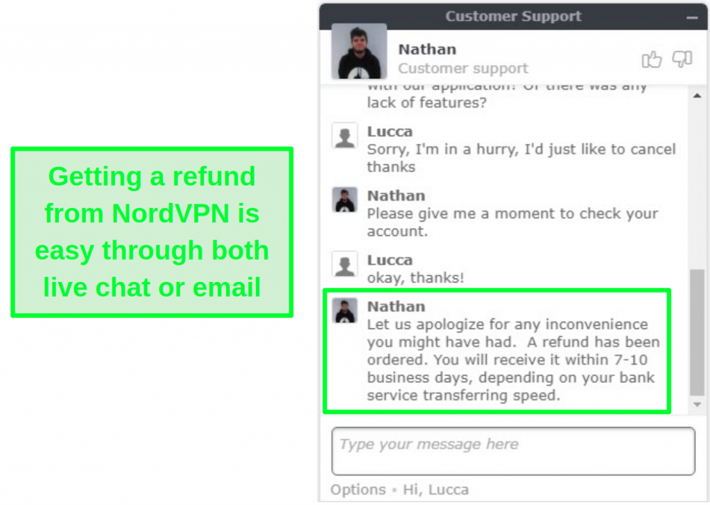 Screenshot of successful NordVPN refund approval via live chat