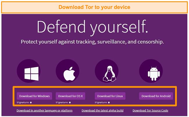 Screenshot of Tor browser download options on Tor website