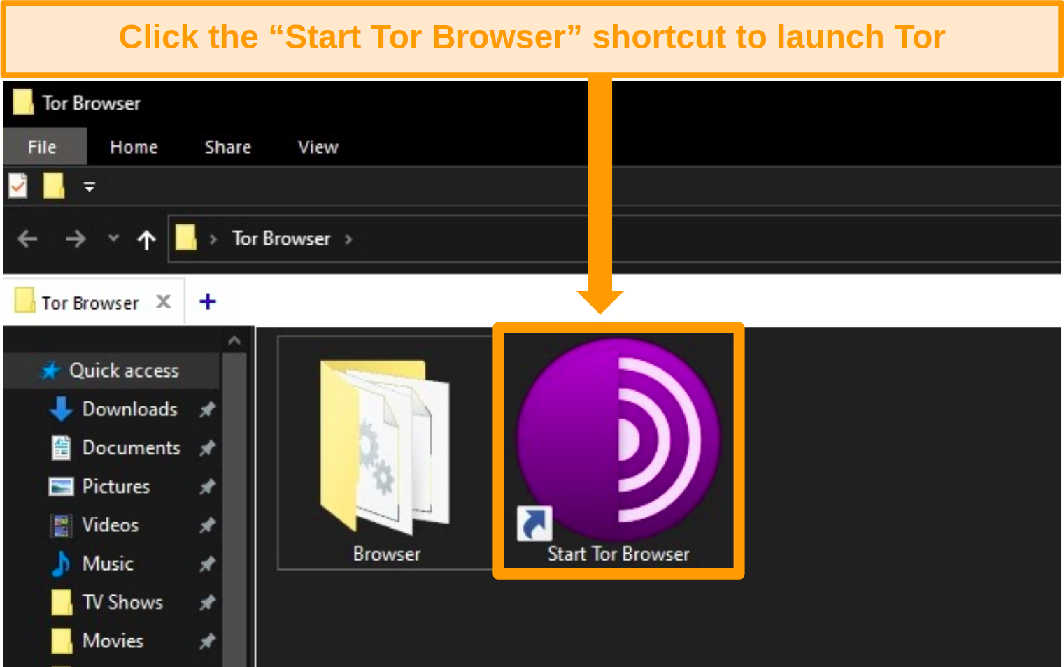 Screenshot of Tor browser installation shortcut on Windows