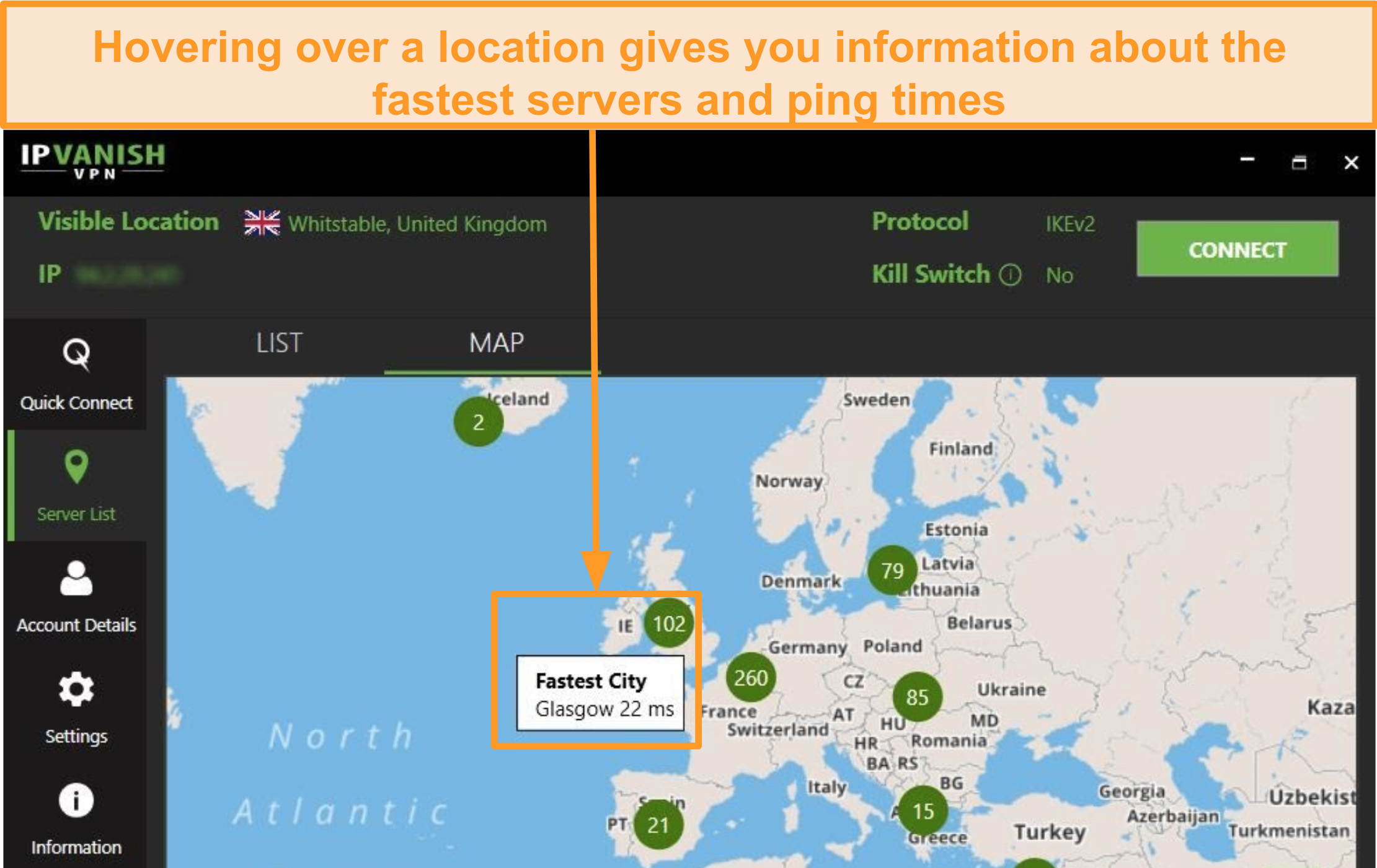 Screenshot of IPVanish interactive server selection map.