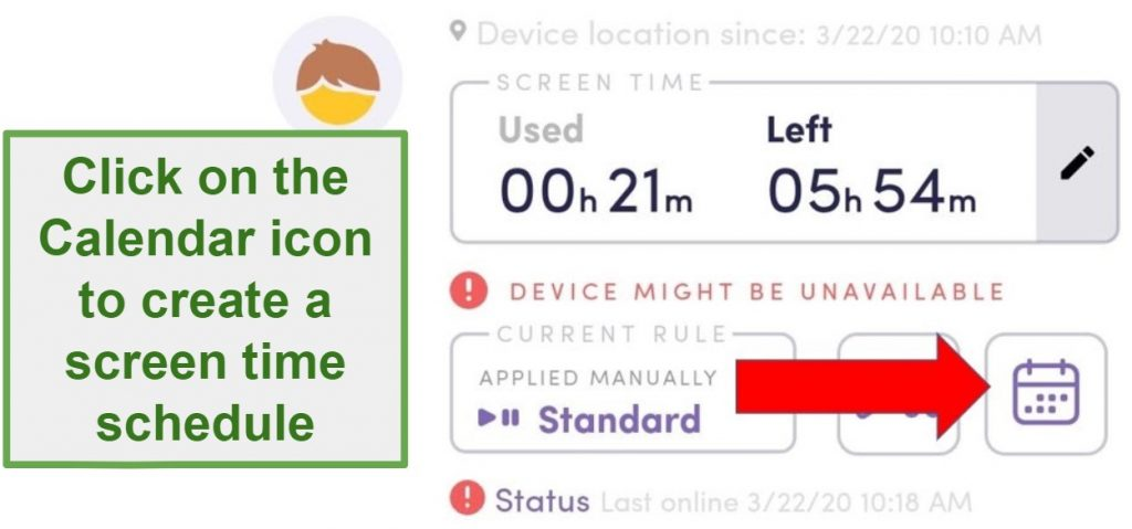 Screenshot of Net Nanny Parental Control apps interface showing instructions on how to create a screen time schedule