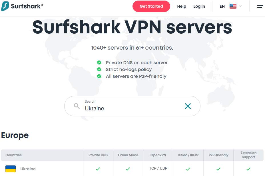 Graphic of Surfshark's servers in Ukraine