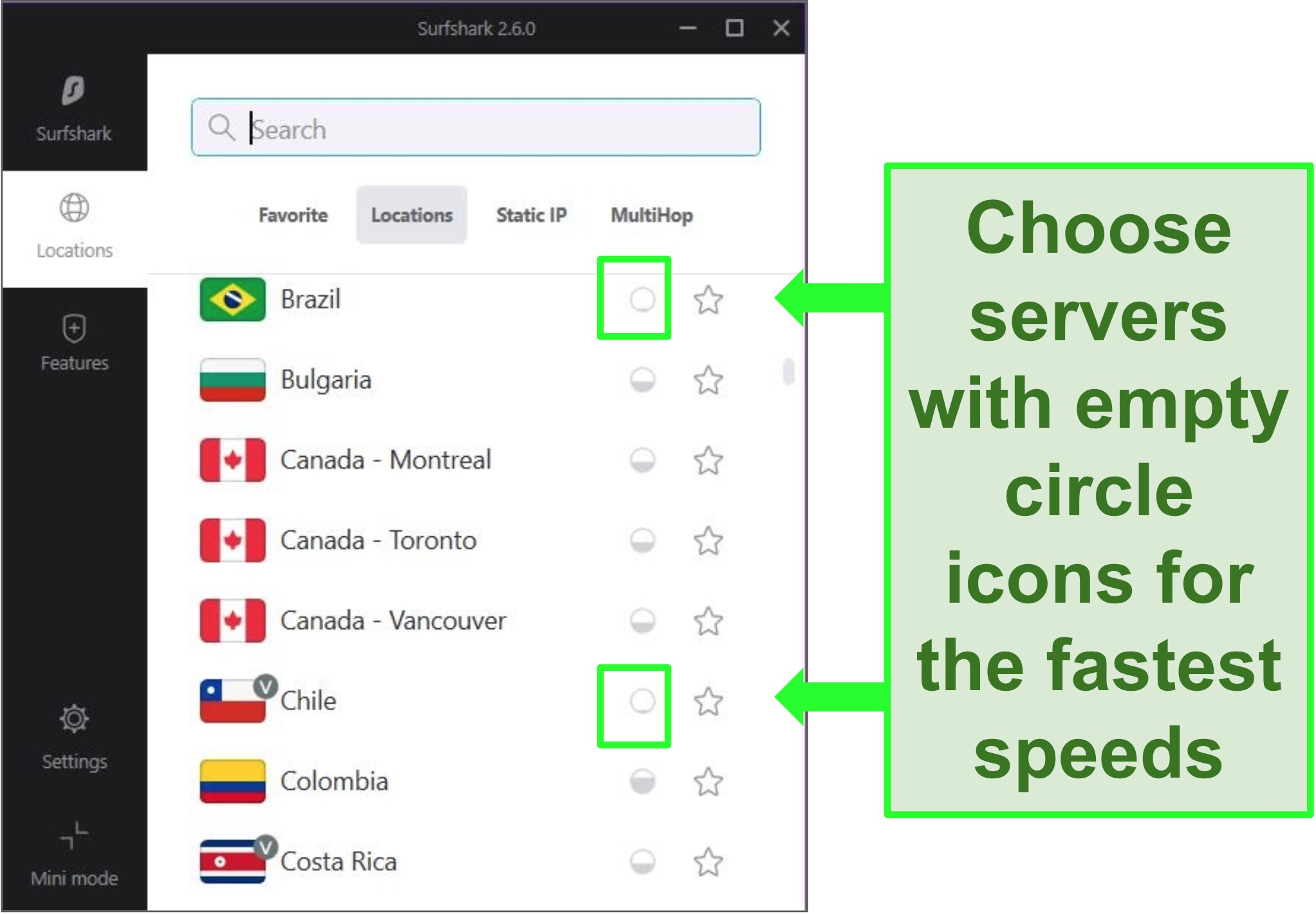 surfshark interface showing server options in different countries and server load