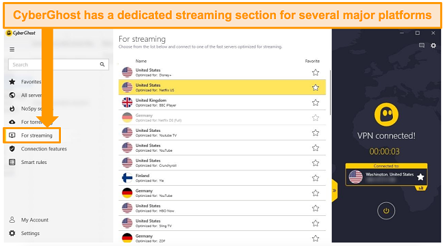 Screenshot of CyberGhost's dedicated streaming servers for streaming platforms