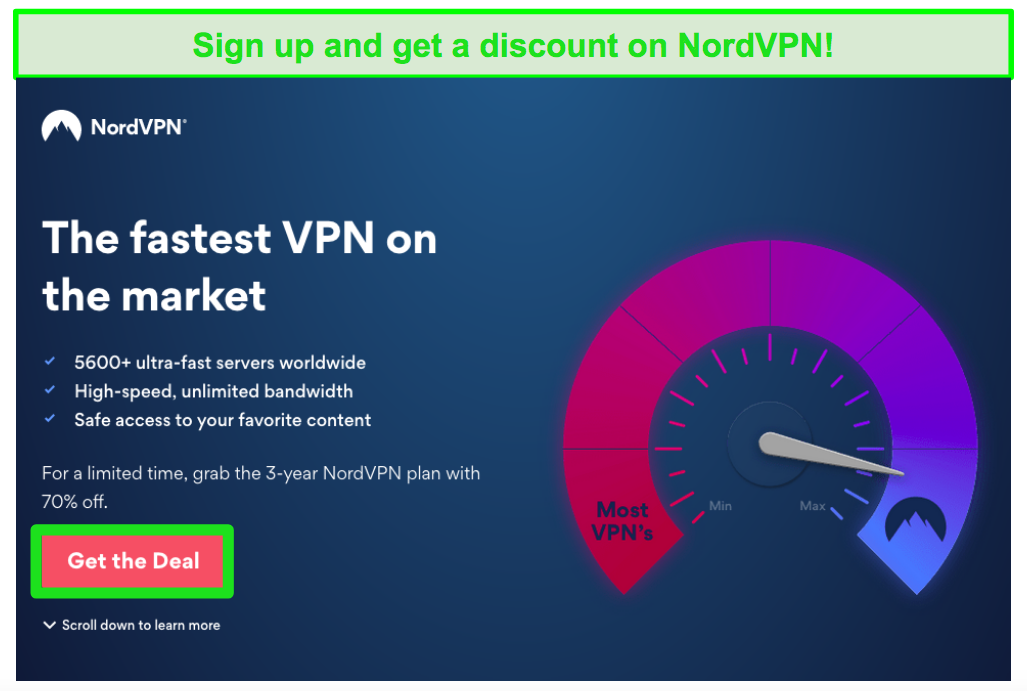 Screenshot of NordVPN deal page