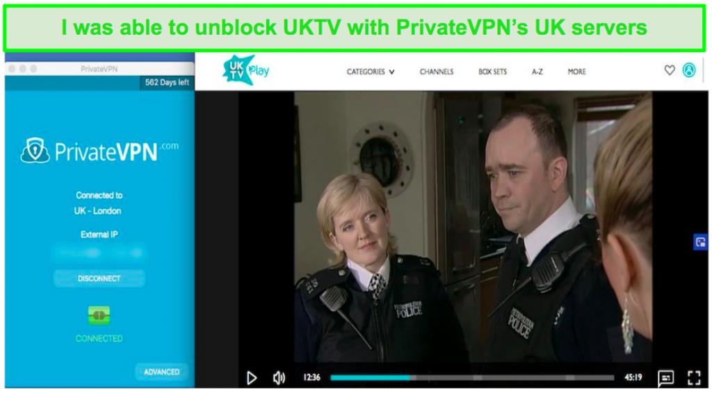 Screenshot of PrivateVPN unblocking The Bill on UKTV