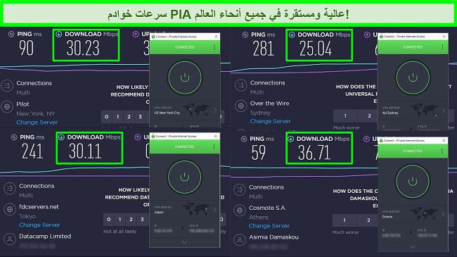 لقطات من اختبارات سرعة Ookla مع اتصال PIA بخوادم عالمية مختلفة.
