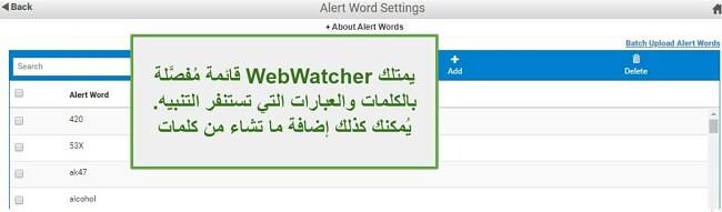 لقطة شاشة من كلمات تنبيه Webwatcher