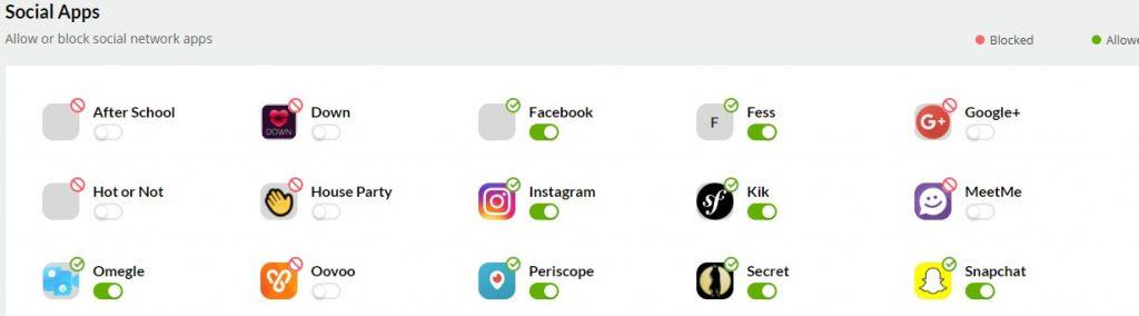 Allow or Block Social Media apps