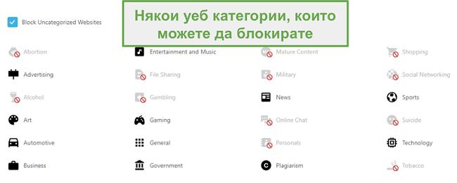 Екранна снимка за избор на категории, които да разрешите или ограничите