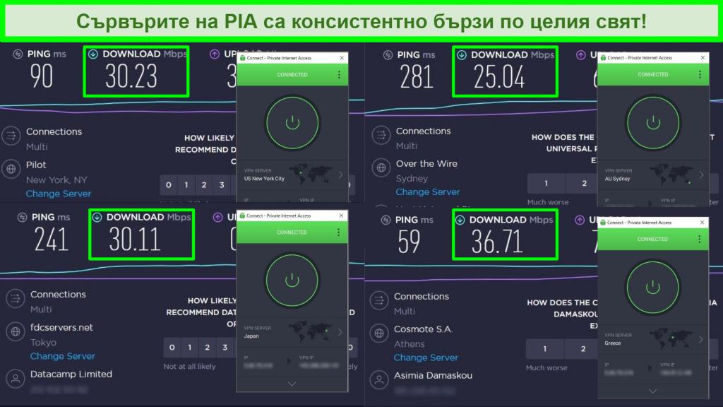 Снимки на тестове за скорост на Ookla с PIA, свързани към различни глобални сървъри.