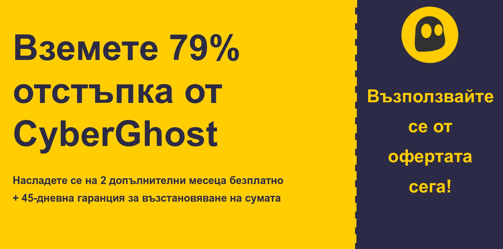 графика на банера на основния талон на CyberGhostVPN, показващ 79% отстъпка