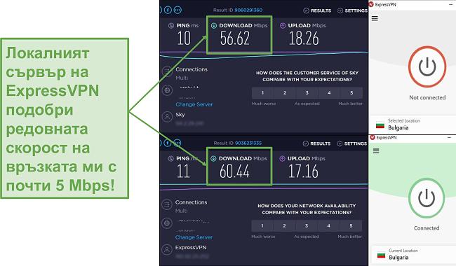 Снимка на увеличение на скоростите с ExpressVPN.