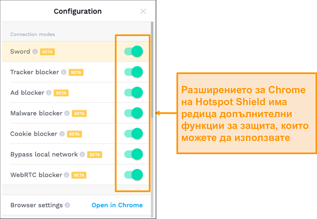 Екранна снимка на функциите за сигурност на разширението за Chrome на HotSpot Shield.