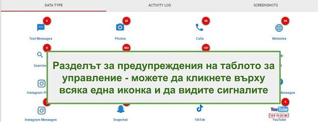 Екранна снимка на раздела за предупреждение на WebWatcher