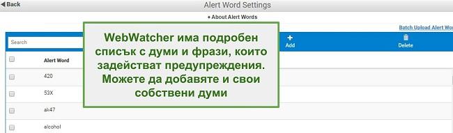 Екранна снимка на предупредителните думи на Webwatcher