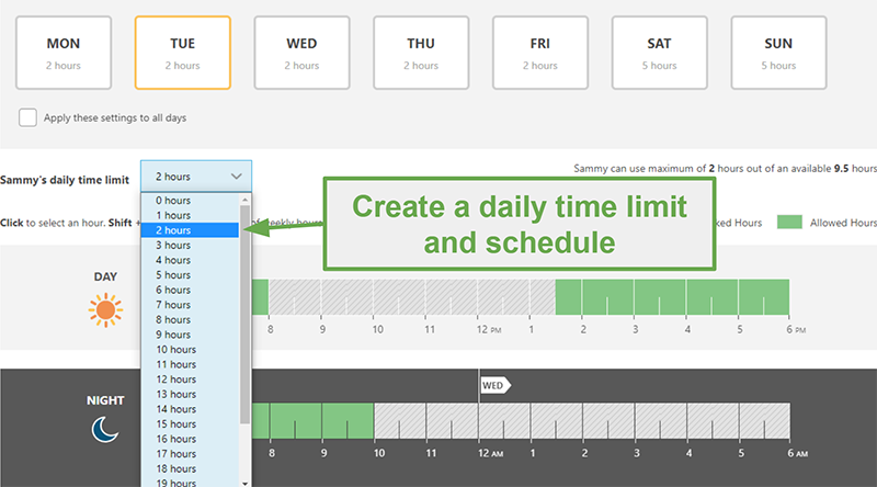 Screenshot of Norton Family App showing settings for Time Limit