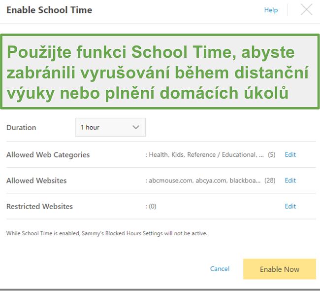 Funkce Remote School s aplikací Norton Family