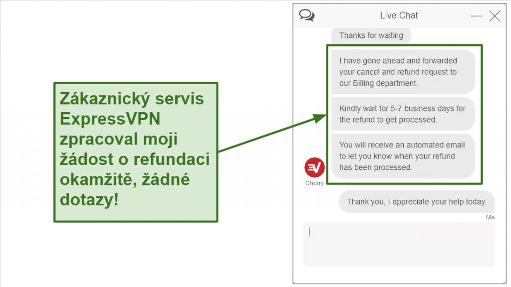 Screenshot of ExpressVPN refund request over live chat.