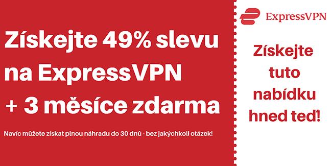 Kupón ExpressVPN se slevou 49% a 3 měsíce zdarma se 30denní zárukou vrácení peněz