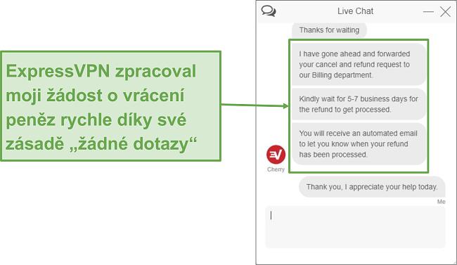 Screenshot z vrácení peněz ExpressVPN prostřednictvím živého chatu.