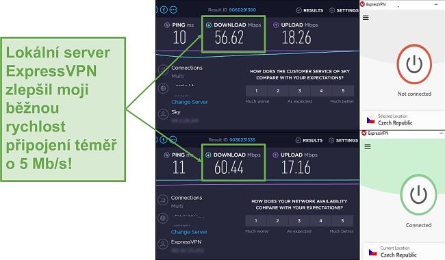 Screenshot zvýšení rychlosti pomocí ExpressVPN.