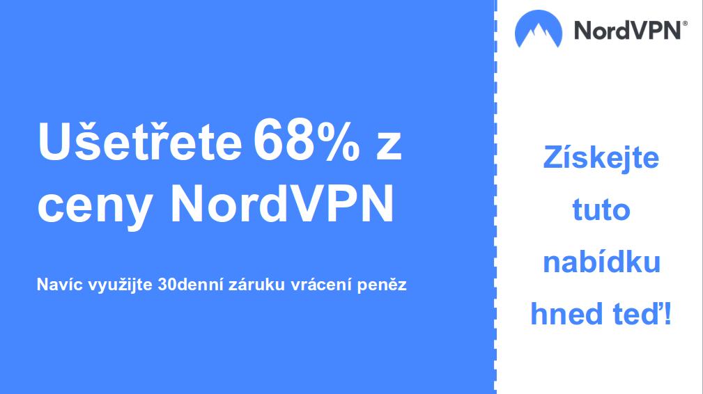 grafika hlavního banneru Nordvpn s 68% slevou