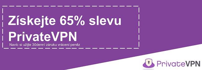 Obrázek fungujícího kupónu PrivateVPN nabízejícího slevu 65% s 30denní zárukou vrácení peněz