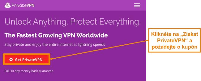 Screenshot z domovské obrazovky PrivateVPN s