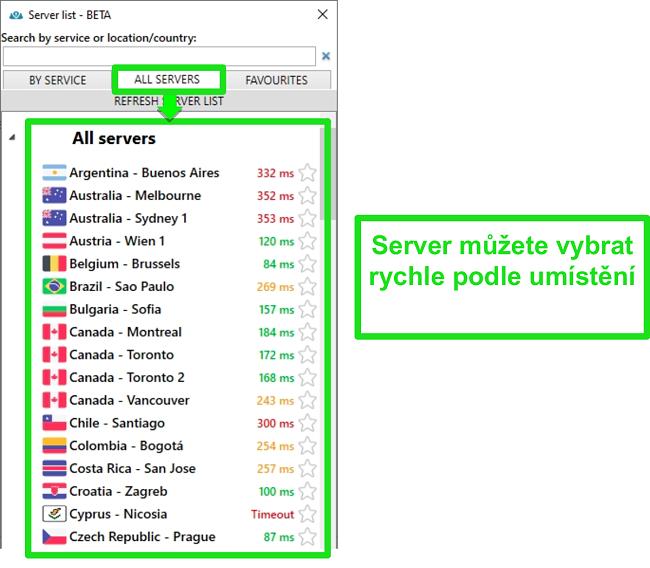 """Screenshot umístění serverů PrivateVPN v seznamu """"Všechny servery"""""""