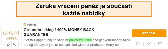 """Screenshot kupónu PrivateVPN inzerujícího záruku vrácení peněz jako """"dohodu"""""""