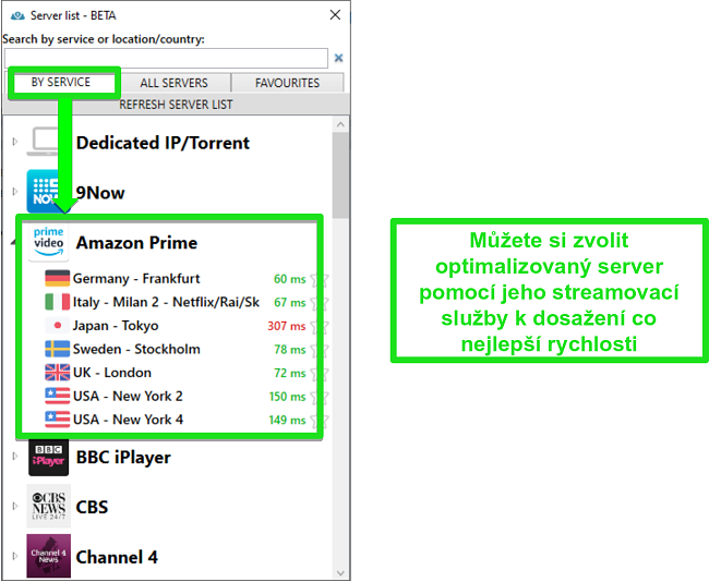 Screenshot možností streamovacího serveru pro PrivateVPN