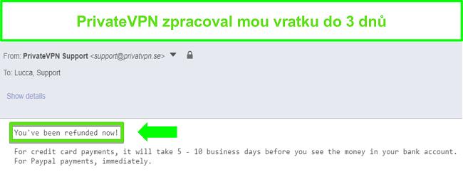 Screenshot z odpovědi PrivateVPN po zpracování vrácení peněz