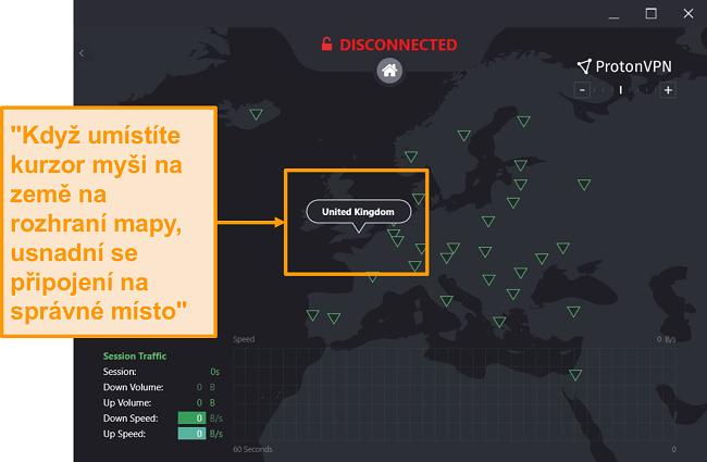 Screenshot interaktivní mapy serveru ProtonVPN.