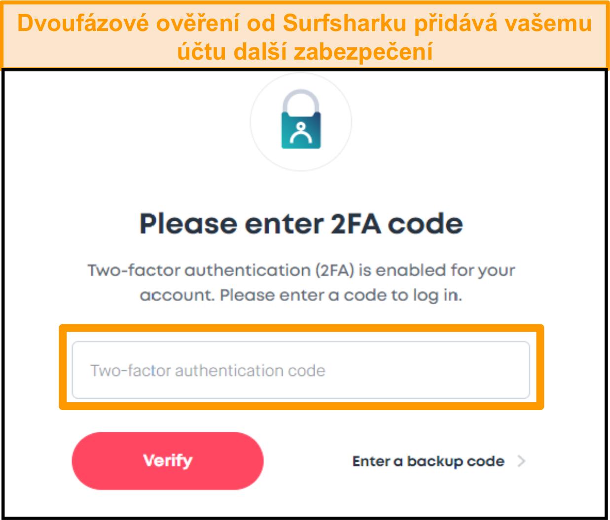 Screenshot obrazovky pro zadání kódu 2FA Surfshark