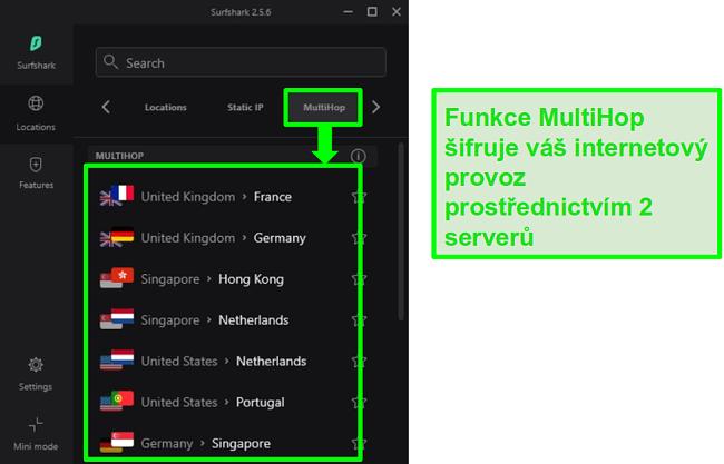 Screenshot z přehledu serveru Surfshark, který ukazuje jejich servery MultiHop