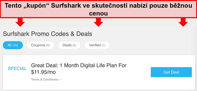 Screenshot z falešných promo kódů a nabídek Surfshark