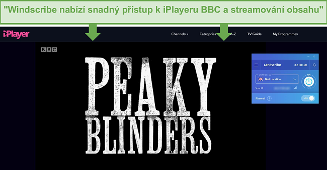 Screenshot bezplatné verze Windscribe, která odblokuje BBC iPlayer.