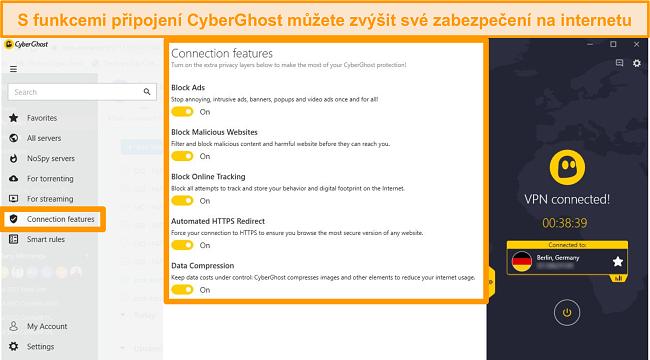 Screenshot funkcí připojení CyberGhost ke zlepšení zabezpečení online