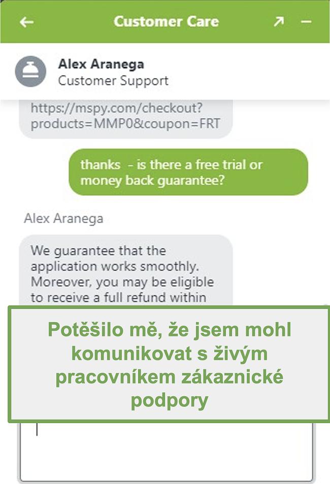 Screenshot chatu se skutečným agentem podpory zákazníků