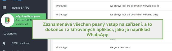 Näyttökuva salatuista sovelluksista, kuten WhatsAppista, lokista