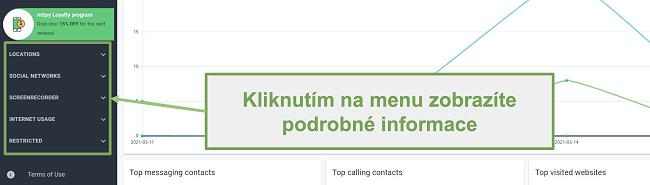Screenshot panelu nabídek pro zobrazení podrobných informací