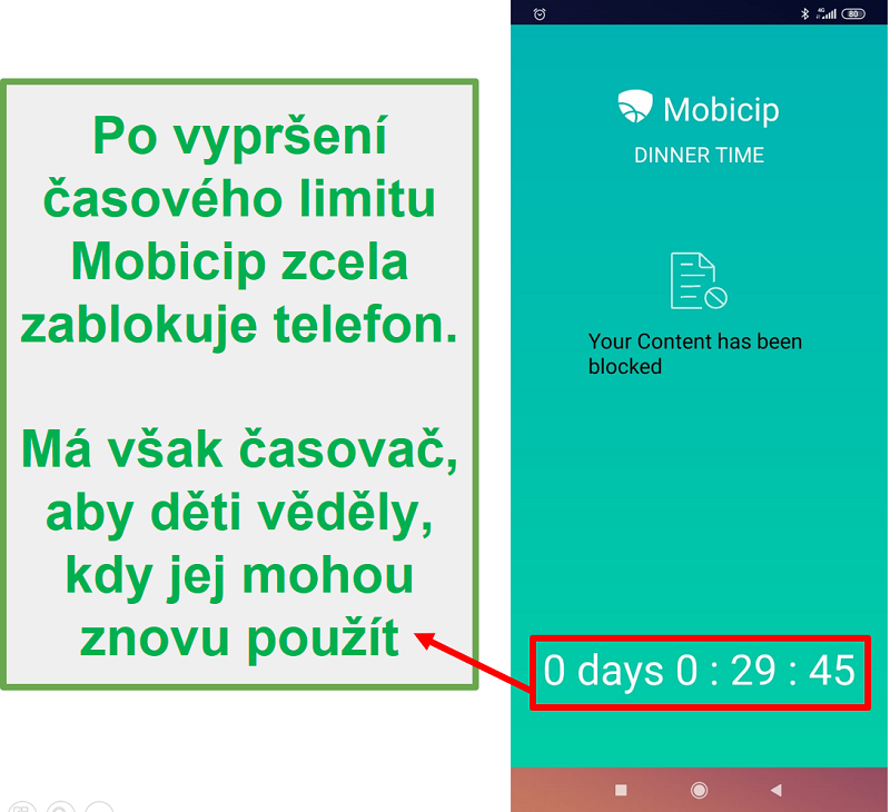 Mobicip blokuje zařízení