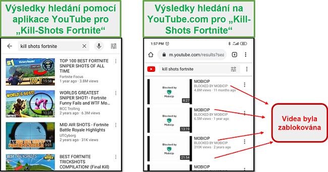Mobicip blokuje YouTube