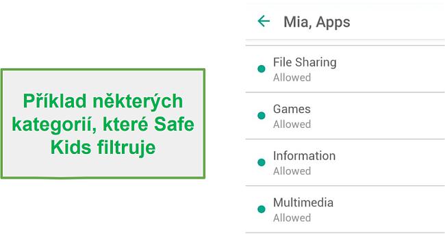Kategorie filtrů Safe Kids