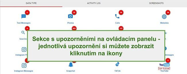 Snímek obrazovky sekce WebWatcher Alert