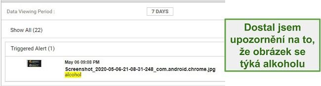 Screenshot upozornění WebWatcher z obrázků