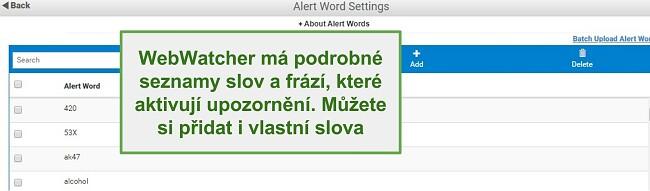 Snímek obrazovky výstražných slov Webwatcher