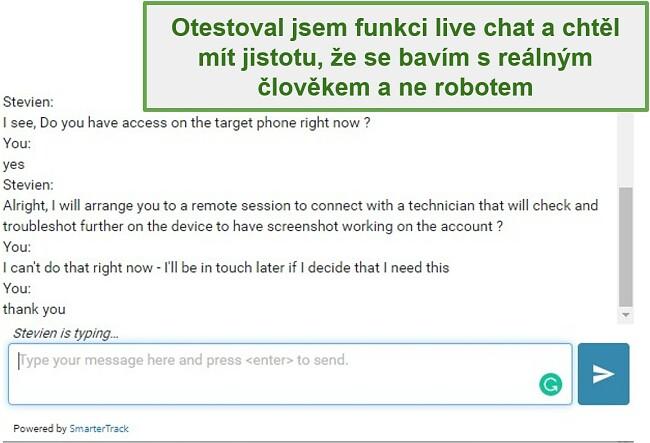 Screenshot zákaznické podpory Webwatcher
